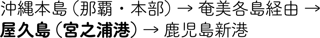沖縄本島(那覇・本部) → 奄美各島経由 → 屋久島(宮之浦港) → 鹿児島新港